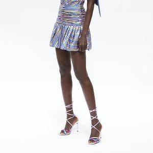 Zara Women's Metallic Striped Pleated Puffy Skirt